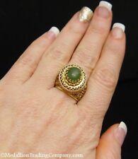 Antique 14k Yellow Gold Oval Nephrite Dark Green Jade Etruscan Filigree Ring
