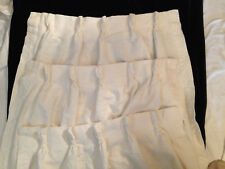 """VINTAGE DARTED IVORY DRAPES 3 CREAM COLORED PANELS 80 x 24"""" EACH NICE FABRIC"""