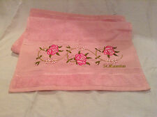 Pink Rose Threaded Soft Cotton Small Vaction Embroidered 'St. Maarten' Towel