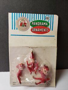 COOL 1960S  CHRISTMAS NOS HARD PLASTIC PIXIE ELVES FIGURES