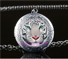 Tiger Face Cabochon Glass Photo Tibet Silver Chain Locket Pendant Necklace