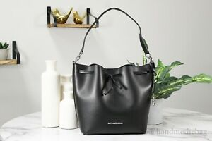 Michael Kors Eden Black/Silver Smooth Leather Medium Bucket Shoulder Hand Bag