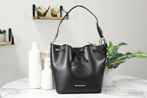 Michael Kors Eden Black/Silver Smooth Leather Medium Bucket Shoulder Hand Bag