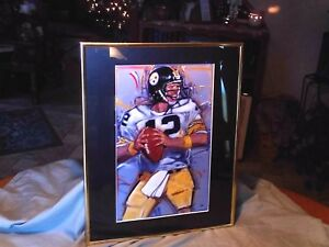 PITTSBURGH STEELERS TERRY BRADSHAW FRAMED PRINT,SIGNED.