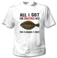 CHRISTMAS FLOUNDER SHIRT - NEW COTTON WHITE TSHIRT