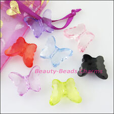 8Pcs Mixed Plastic Acrylic Clear Butterfly Spacer Beads Charms 18x22.5mm