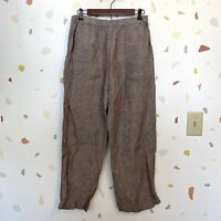 Chicos SZ 2 US Large 100% Linen Elastic Waist Tan Brown Pull On Casual Pants
