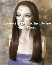 Heat Safe Human Hair Blend Wig Lace Front Long Straight Brown mix WBCL 27-4-30