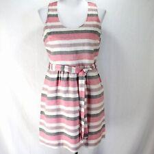 Ann Taylor Loft Dress Sz 6P Pink Ivory Gray Stripe Sleeveless Belted Linen Blend