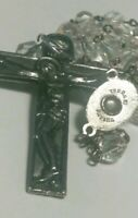 RARE HOLY FATIMA PORTUGAL SOIL RELIC  RELIQUARY TRANSLUCENT GLASS BEADS ROSARY