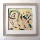 Original 1951 Ted De Grazia Watercolor Charcoal Painting Circus Clowns Provenanc