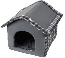Dog Bed Cat Bed Soft Suede Kennel Tartan Design 42cm Cozy Dog Cave Bed