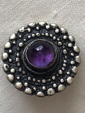 Purple Amethyst Glass Stone Jewel Set In Silver Metal Vintage Button 25mm