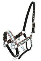 Showman Nylon/Leather Horse Halter w/ TEAL & BROWN Navajo Print Inlay! NEW TACK!