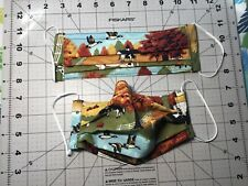 Face Mask w/nose wire & Filter pocket w/elastic. Fall Barnyard scene cows/geese