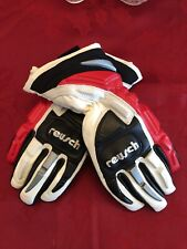 Reusch Racing Ski Gloves, Slalom (Black, White & Red) - Pre-Owned, Junior Size S