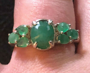 Sterling Silver Ring Emerald Natural Gemstone 7x5mm Dome 1+Cts Sz 8 3g 925 #1142
