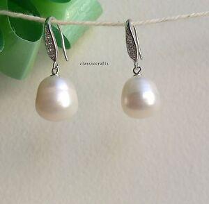 Genuine 925 sterling silver 11-13mm drop freshwater pearl CZ dangle earing White