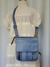 Vintage Fossil Blue Leather Crossbody Messenger Bag Saddle Flap Purse
