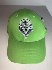 Men's Lime Green MLS Soccer Seattle Sounders FC Adjustable Strap Cap Hat NWT