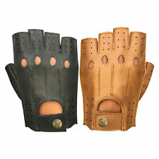 Soft Leather Fingerless Driving Cycling Motorbike Fashion Retro Style Gloves 314