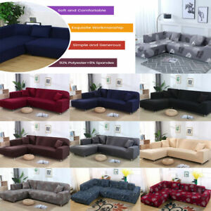 2pcs Stretch Sofa Covers Slipcover for L Shape Sectional Corner Couch Protector