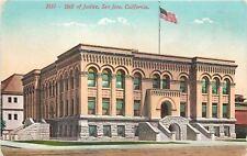 San Jose California~Hall Of Justice~1910 Postcard