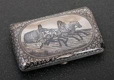 Antico Russo 84 ARGENTO NIELLO sigaretta caso con troika-Mosca 1890