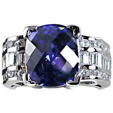 *SPECTACULAR* TANZANITE simulated _CLEAR  CZ RING_SZ-8__925 Sterling Silver