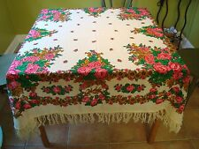 Vintage Fringe Piano Shawl, Scarf, Tablecloth, Cream with Printed Floral Design