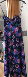 VINTAGE 1980s MARITIM SMALL LADIES SUMMER MULTICOLOURED ABSTRACT FLORAL DRESS