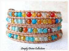 LEATHER FOUR WRAP FRIENDSHIP FASHION BRACELET SEMI PRECIOUS GEMSTONE FIRE AGATE