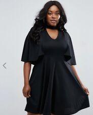 ASOS Club L - Plus (Sz 20) - Black Skater Dress With Choker & Cape