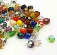 50 Preciosa Glasschliffperlen 3mm Feuerpoliert Facettiert Kugel Mix Perlen X276