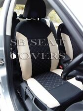 i - TO FIT A BMW 3 SERIES CAR, SEAT COVERS, BEIGE/BLACK STITCH, FULL SET