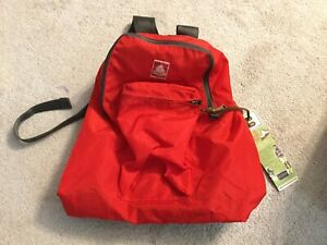 NWT Jansport Ski + Hiking Backpack Red Small Nylon Bear Patch Daypack