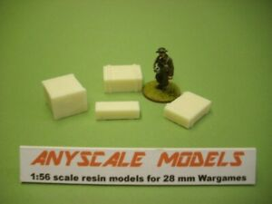 wargames scenery. pack of 4 packing crates/boxes 1:56 scale for 28mm 8141