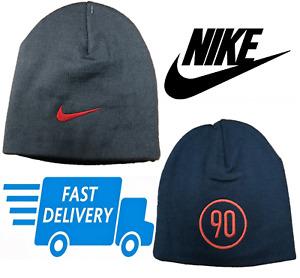 Nike Kids Beanie Hat Winter Woolly Headwear Boys Grey/Blue Beanie