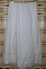 Antique 1900's White Long Cotton Slip with Lace Embroidery Costume Re-Enactment