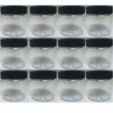 12 PET Plastic 2 Oz Empty Clear Containers Cosmetic Jar Cap Creams Makeup Travel