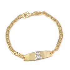14k Gold Filled Baby Bracelets Chain Link Teddy Bear 2 Tone Plate Toddler Kid 6""