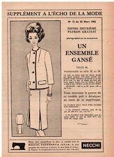 ▬► PATRON Écho de la Mode - Ensemble veste jupe T38 à 42- N°12 du 25/03/1962