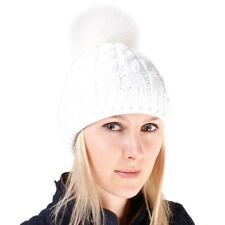 40215f19ce2 White Wool Hat With White Fox Fur Pom Pom! Beanie Winter Cap Bobble Hat Ski