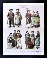 1880 Braun Costume Print - Late 19th Century German Folk Dress of Baden Germany