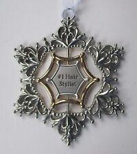 bbd #1 Hair Stylist Christmas mom Snowflake ORNAMENT swirling 3d Ganz car charm