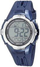 New-Timex Marathon Azul + Color Plata, Correa de Goma, Digital, Reloj Cronógrafo