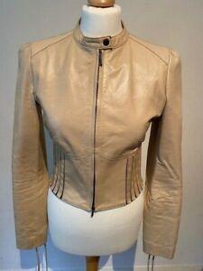Pinko Cream Leather Stretch Ribbed Waist Tie Short Zipped Biker Jacket 44 10 -12