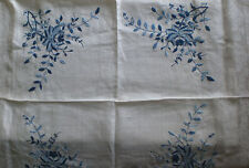 Fine Linen embroidered square  tablecloth with blue pattern 38in 96.5cm square