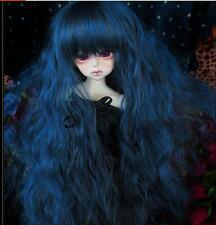 Bjd Doll Parrucca 1/4 7-8 SD MSD AOD DZ LUTS Dollfie Doll blue black Toy Head