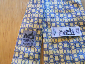 Hermes Paris Yellow Grey Chains Rings 7478 IA Silk Handmade Necktie Tie